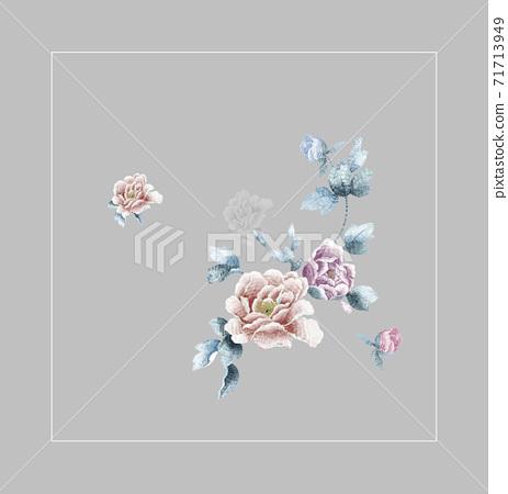 色彩豐富的花卉素材組合和設計元素 71713949