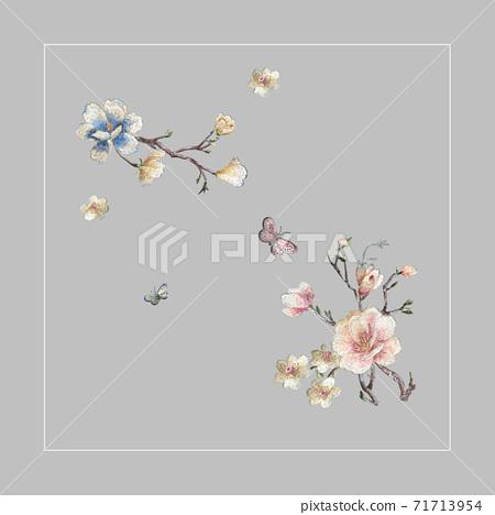 色彩豐富的花卉素材組合和設計元素 71713954