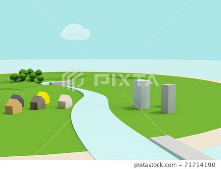粘土動漫回背景樣式3D景觀圖(與水壩) 71714190