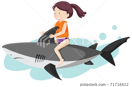 Girl riding on shark cartoon style isolated on white background 71716622