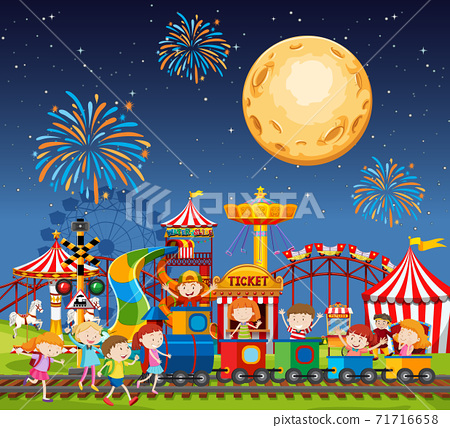 Amusement park scene at night with fireworks and moon in the sky 71716658