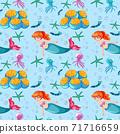 Seamless mermaid and sea animal cartoon character on blue background 71716659