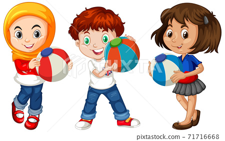Different three kids holding colorful ball 71716668