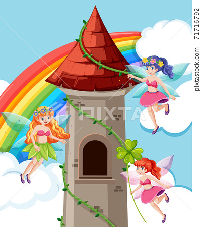Fairy tales and castle tower cartoon style on rainbow sky background. 71716792