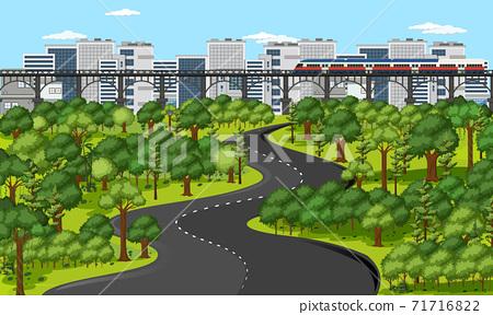 City with nature park landscape scene 71716822