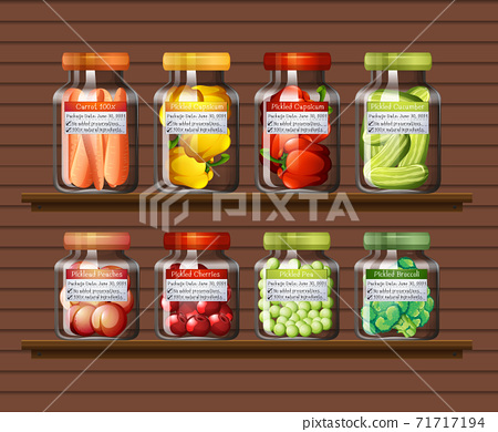 Set of different vegetables in different jars on wall shelves 71717194