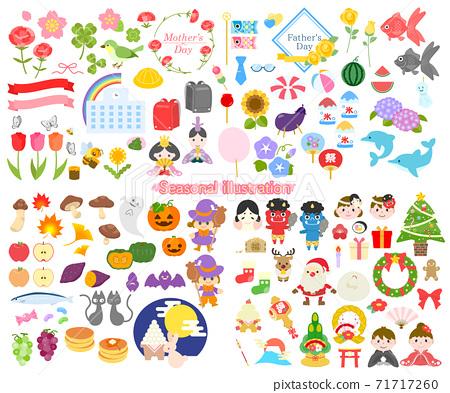季節性材料:四個季節春夏秋冬插圖素材 71717260