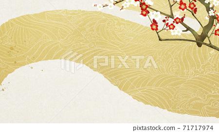 홍백 매화와 파도의 일본식 배경 - 여러 종류가 있습니다 71717974