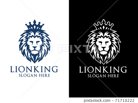 Lion King Vector Logo Design with Crown Concept 71718222