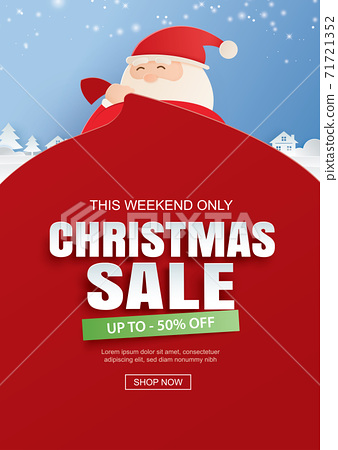 Santa claus and a huge bag of gifts with christmas sale promotion. Use for banner, poster, cover and all media. 71721352