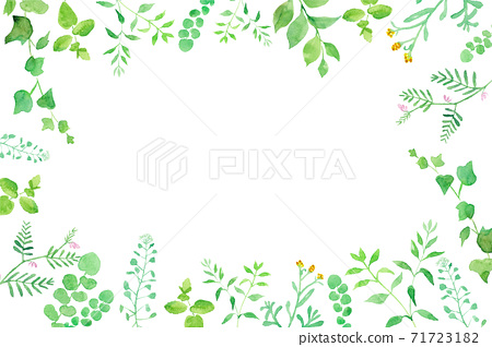 Frame of green flowers Trace vector of watercolor illustration 71723182