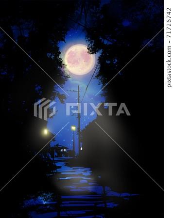 숲과 전주의 흑백 실루엣 사이로 보이는 보름달과 밤하늘의 풍경화 71726742