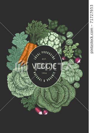 Hand drawn vintage color vegetables design. Organic fresh food vector banner template. Retro vegetable background. Traditional botanical illustrations. 71727653