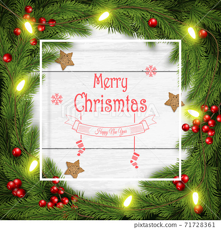 Christmas wreath vector illustration on white wooden background. 71728361