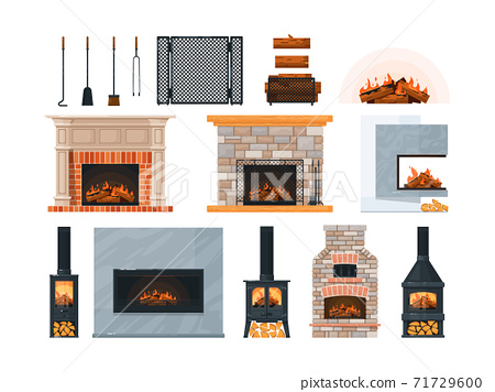 Fireplace, firewood and accessory isolated on white 71729600