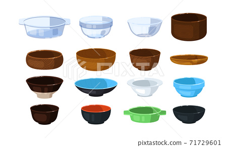 Glass, plastic, wooden and ceramic bowl isolated on white 71729601