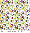 Seamless pattern with ingredients for hot winter drinks such as grog, punch, mulled wine 71730107