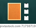 Empty cork board with blank notes on green background 71730719