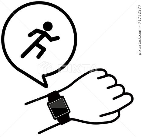 矢量圖的檢查手臂跑步者圖標上的智能手錶 71732577