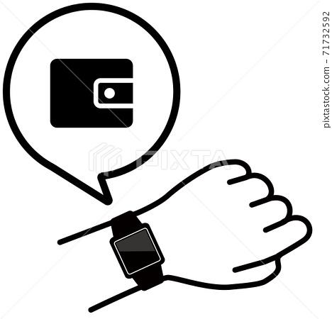 矢量圖的檢查手臂上的智能手錶的錢包圖標 71732592