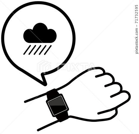 矢量圖的檢查手臂上的智能手錶雨圖標 71732595
