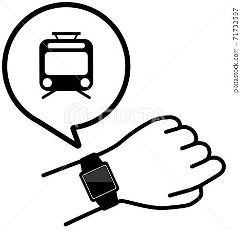 矢量圖的檢查手臂上的智能手錶火車圖標 71732597