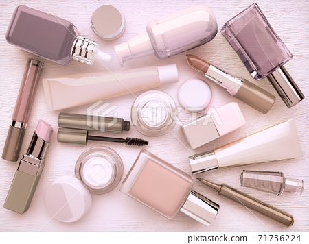 Make-up,Trendy, glamour, makeover, product, set, isolated, on, white, background 71736224