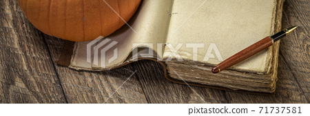 vintage leather-bound journal with a stylish pen and pumpkin 71737581