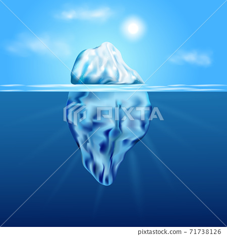 Iceberg floating among ice floes in the blue Antarctic sea. 71738126