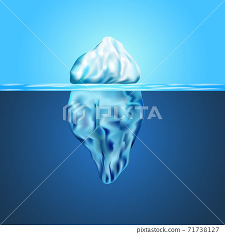 Iceberg floating among ice floes in the blue Antarctic sea. 71738127