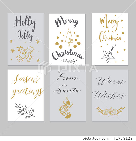 Merry Christmas greeting card set with cute xmas tree, santa and deer retro designs. 71738128