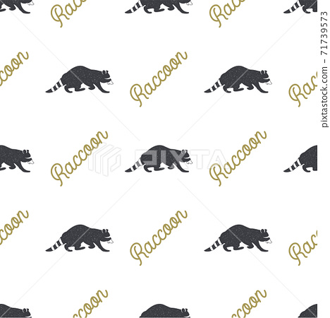 Raccoon seamless with typography sign. Wild animal wallpaper. Stock pattern isolated on white background. Retro colors. Vintage hand drawn design 71739573