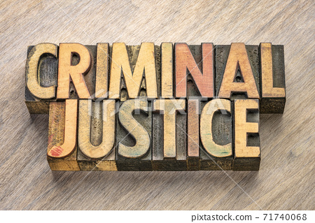 criminal justice words in wood type 71740068
