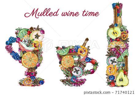Illustration of cups and bottle for mulled wine hot drink ingredients, cafe, restaurant menu 71740121