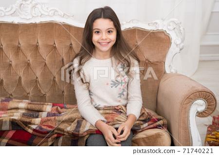 Child wear winter sweater enjoy holiday. Happy new year. 71740221