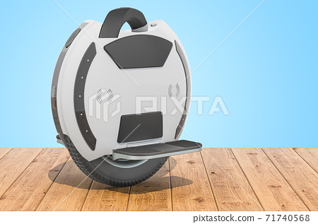 Electric Unicycle on the wooden planks, 3D rendering 71740568