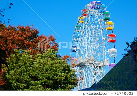 荒川遊樂園的新摩天輪和藍天秋葉特寫 71740602