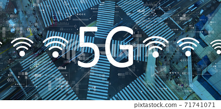 5G network with city traffic intersection 71741071