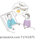 Handwritten line art color illustration, senior couple, male hospitalization, money worries 71741875