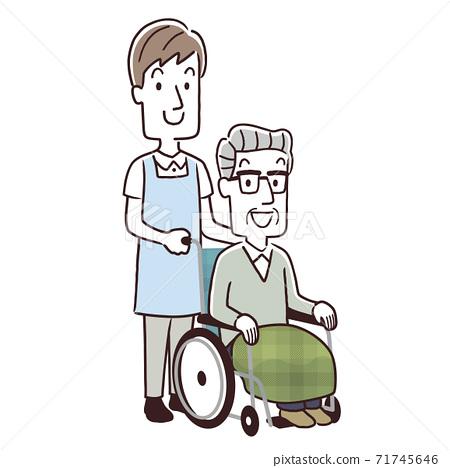 矢量圖插圖材料:老人和男職員 71745646