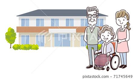 벡터 일러스트 소재 : 양로원에 입주하는 노인 여성과 남편과 직원 71745649
