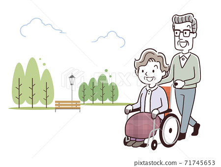 Vector Illustration Material: Senior couple pushing a wheelchair for a walk 71745653