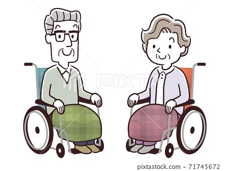 矢量圖材料:輪椅上的高級男女 71745672