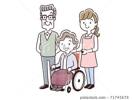 벡터 일러스트 소재 : 휠체어를 타고 시니어 여성과 시니어 남자와 간호 직원 71745678