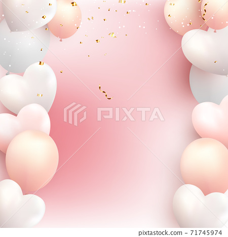 colored Balloons with Hearts Vector Illustration on pink 71745974