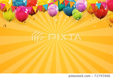 Abstract Holiday Background with Balloons. Can be used for advertisment, promotion and birthday card or invitation. Vector Illustration 71745986