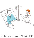 Handwritten line art color illustration senior male hospitalized doctor 71746391