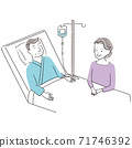 Handwritten line art color illustration, senior couple, male hospitalization, smile 71746392