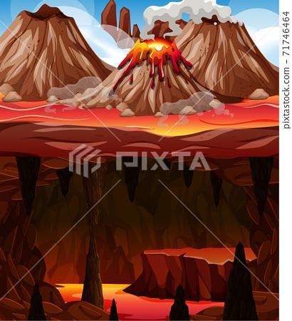 Infernal dark cave with lava scene 71746464