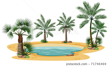 Desert landscape with nature tree elements on white background 71746469